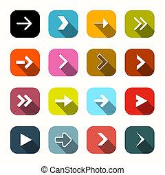 płaski, komplet, zaokrąglony, barwny, strzały, wektor, projektować, kwadraty