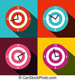 płaski, komplet, zegar, ikony, -, symbolika, wektor, czas