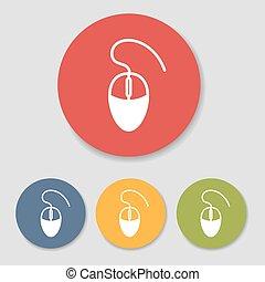 płaski, komputerowa mysz, ikony