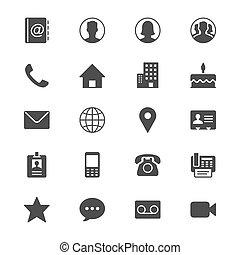 płaski, kontakt, ikony