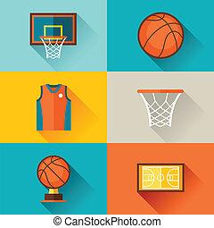 płaski, koszykówka, ikony, lekkoatletyka, tło, style.