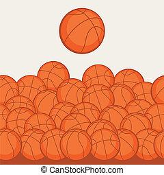 płaski, koszykówka, ikony, próbka, seamless, lekkoatletyka, style.
