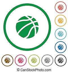 płaski, koszykówka, szkice, ikony