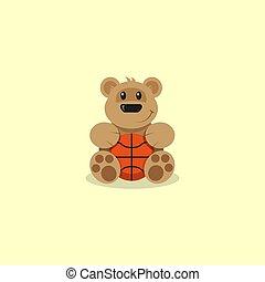 płaski, koszykówka, sztuka, niedźwiedź, ilustracja, rysunek