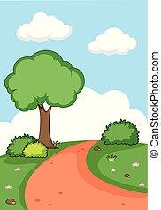 płaski, krajobraz, natura