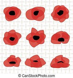 płaski, kwiat, symbol., stylizowany, mak, icon., czerwony