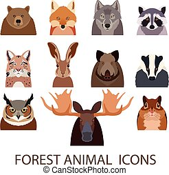 płaski, las, zwierzęce ikony