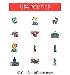 płaski, linearny, usa, ilustracja, komplet, ikony, szkic, editable, uderzenia, wektor, symbolika, piktogramy, polityka, kreska, znaki, cienki