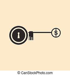 płaski, lok, dolar, czarnoskóry, klucz, biały