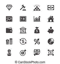 płaski, lokata, handlowe ikony