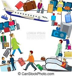 płaski, lotnisko, barwny, szablon