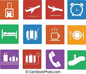płaski, lotnisko, komplet, icon., ikony
