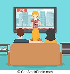 płaski, ludzie, oglądając, ilustracja, wektor, nowość, television.