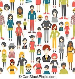 płaski, ludzie, pattern., seamless, tło., figury.
