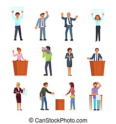 płaski, ludzie, proces, zwinięty, ilustracja, wektor, wybór