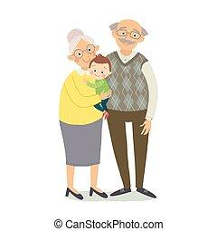 płaski, mały, dziatw, 10, babcia, dziadkowie, odizolowany, grandfother, eps, grandchild., wektor, ilustracja, tło, grandson., pociągnięty, biały, ręka, style., rysunek