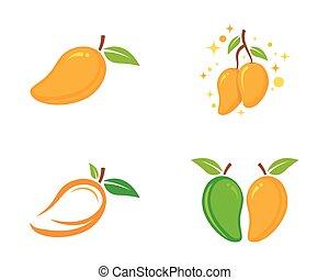 płaski, mangowiec, wektor, icon., logo., style.