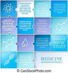 płaski, medycyna, infographic, design.