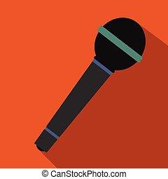 płaski, mikrofon, ikona