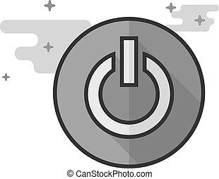 płaski, moc, grayscale, guzik, -, ikona
