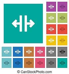 płaski, multi, skwer, barwny, pionowy, ikony, instrument, ułamkowy