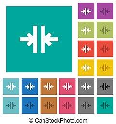 płaski, multi, skwer, barwny, pionowy, ikony, instrument, wcielać