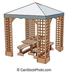płaski, na wolnym powietrzu, piknik, drewniany, park, ilustracja, ława, wektor, stół, krzesło, ikona
