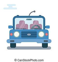 płaski, nowoczesny, ilustracja, rysunek, stylizowany, wóz., przód, bok