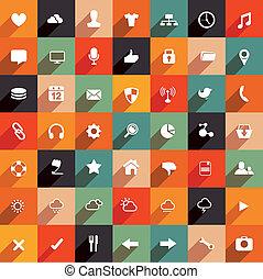 płaski, nowoczesny, komplet, ikona