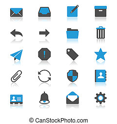 płaski, odbicie, email, ikony