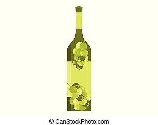 płaski, oliwki, wizerunek, styl, ilustracja, odizolowany, tło., wektor, butelka, grapes., biały, albo