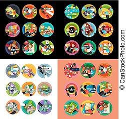 płaski, opcja, etykiety, projektować, infographics, okrągły