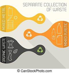 płaski, organiczny, oddzielny, recycling, metal, zbiór, plastyk, kolor, wektor, chorągwie, tracić