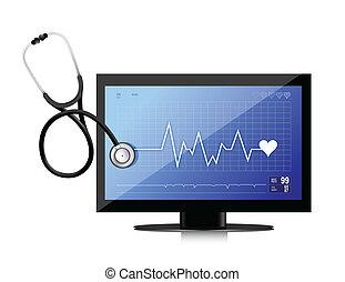 płaski osłaniają, nowoczesny, medyczny, stetoskop, app
