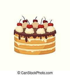 płaski, oszklić, cielna, dessert., czekolada, top., wektor, projektować, biczowany, zachwycający, wiśniowy placek, święto, płatowaty, czerwony, śmietanka