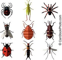 płaski, owad, komplet, icons3