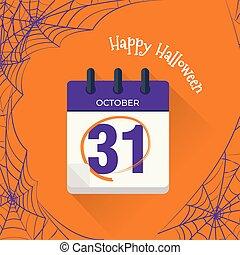 płaski, październik, kalendarz, 31