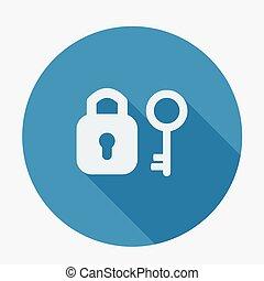 płaski, padlock., długi, jednorazowy, klucz, shadow., ikona