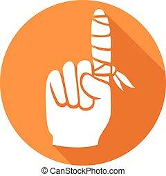 płaski, palec, bandaż, ikona