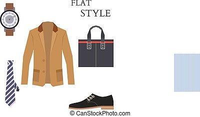 płaski, patrzeć, fashion., menu, wektor, nosić, style.