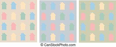 płaski, pattern., barwny, domy