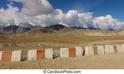 płaski, perspektywa, góry, jasny, oszałamiający, oddalony
