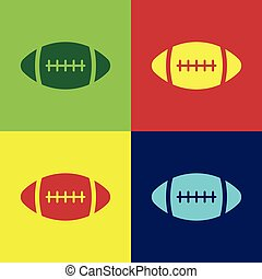 płaski, piłka, kolor, piłka nożna, odizolowany, ilustracja, amerykanka, wektor, backgrounds., ikona, design.