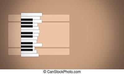 płaski, piano, ożywienie, klawiatura