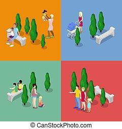 płaski, pieszy, rodzina, szczęśliwy, concept., isometric, ilustracja, wektor, parents., dzieci, 3d