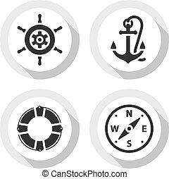 płaski, podróż, komplet, ikony