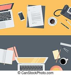 płaski, pojęcia, workspace, projektować