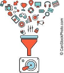 płaski, pojęcie, filtr, tunel, cielna, pojęcia, ilustracja, twórczy, projektować, analiza, proces, dane