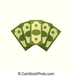 płaski, pojęcie, finansowy, bogactwo, dolar, zielony, currency., bills., ilustracja, fan., amerykanka, wektor, projektować, pieniądze, piątka, rysunek, banknotes., albo, success.