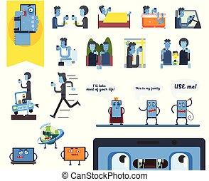płaski, pojęcie, generation., ikony, ludzie, internet, urządzenia, wektor, cyfrowy, używając, smartphones., addiction., faces.